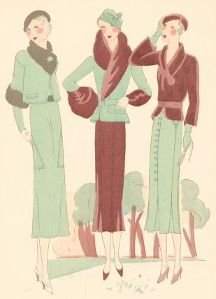 Mint green tailored dresses with fur. Très Parisien. Germaine-Paule Joumard, G. P. Joumard