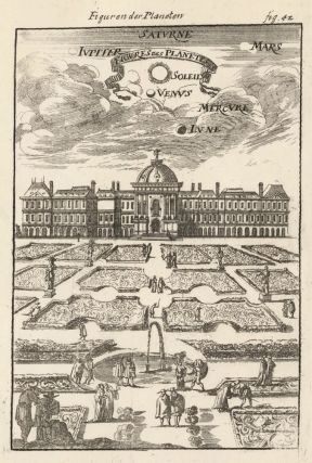 Figure of the planets above palace and gardens. Description de l'Univers. Allain Manesson Mallet