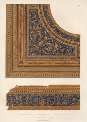 Portions of a Ceiling and Cornice in Gilt Stucco. Specimens of Ornamental Art. Lewis Gruner