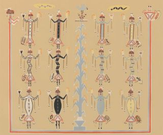 Blue Corn with all kinds of Snakes. Sandpaintings of the Navajo Shooting Chant. Franc J. Newcomb