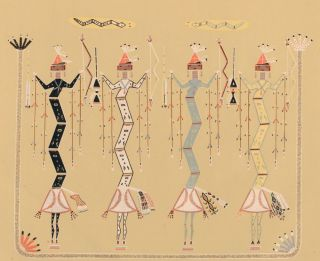 Crooked Snakes showing power of length. Sandpaintings of the Navajo Shooting Chant. Franc J. Newcomb