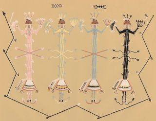 Flint-armored gods in attack on Changing Woman. Sandpaintings of the Navajo Shooting Chant. Franc...