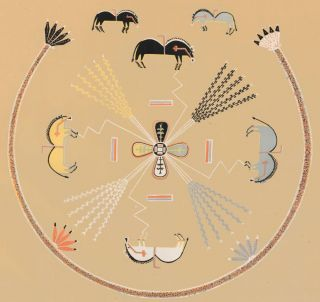 "Buffalo in each sector formed by ""medicines."" Sandpaintings of the Navajo Shooting Chant. Franc..."