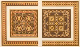 Inlaid Wood of the XVth Century from the Back of Two Chairs. Specimens of Ornamental Art. Lewis...