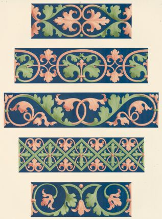 Various Borders from the Church of St. Andrea at Vercelli. Specimens of Ornamental Art. Lewis Gruner