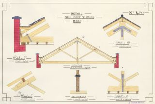 Detail of King Post Truss Roof. F. Reginald Watson.