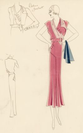 Mauve Dress with Assymetrical Pink Collar. Original Fashion Illustration. Edyth Sparag