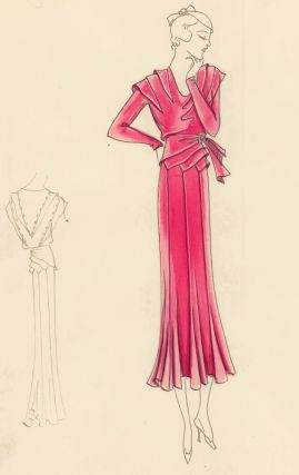 Maraschino Dres with Draped Waist and Buckle. Original Fashion Illustration. Edyth Sparag