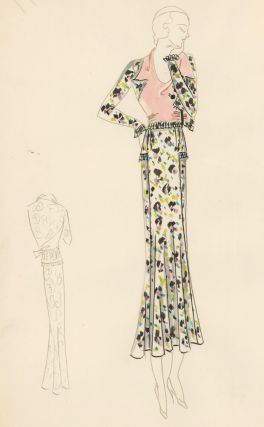 Confetti Suit with Pink Blouse. Original Fashion Illustration. Edyth Sparag