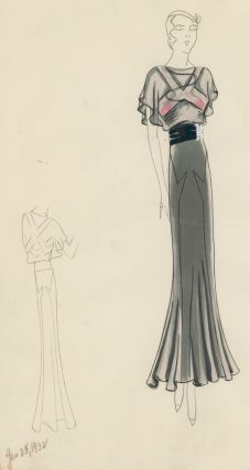 Black Chiffon Dress with Ribbon Belt and Rhinestone Slides. Original Fashion Illustration. Edyth...