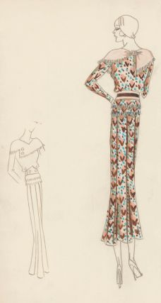 Chevron Patterned Dress with Shawl Collar. Original Fashion Illustration. Edyth Sparag