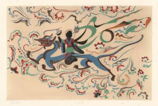 Fairy on a Dragon. Cave No. 329, dated to the Tang Dynasty (618-907). Mural Paintings of...