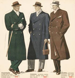Eclectique, Canada, Megeve coats [Men's fashion]. Bayard Fraisse-Vetements. Bayard...