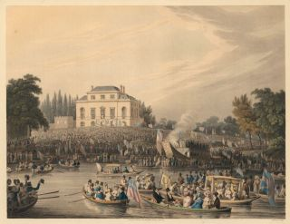 Arrival at Brandenburgh House of the Watermen with an Address to the Queen. M. Dubourg.