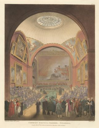 Common Council Chamber, Guildhall. The Microcosm of London. Rudolph Ackermann