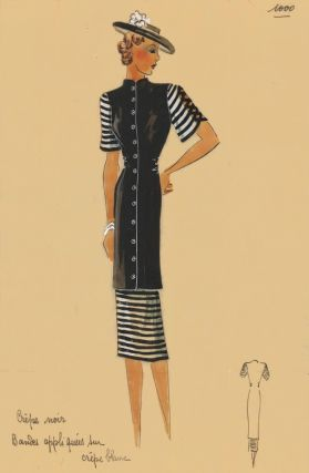 Black-and-white crepe button-up dress, with flowered hat. Original Fashion Illustration. Ginette...