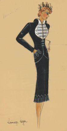 Black two-piece suit with military-style jacket. Original Fashion Illustration. Ginette de Paris,...