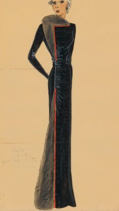 480. Black, long-sleeved gown with fur trim and orange trim. Original Fashion Illustration....
