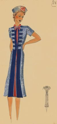 765. Nautical pleated dress. Original Fashion Illustration. Ginette de Paris, Ginette Jaccard