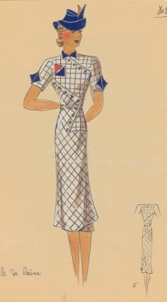 803. Geometric, grid dress with blue hat. Original Fashion Illustration. Ginette de Paris,...
