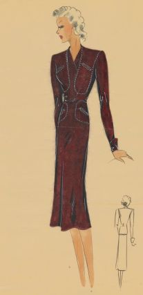 410. Western-inspired ranch dress. Original Fashion Illustration. Ginette de Paris, Ginette Jaccard