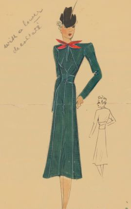 Western-inspired dress, with red bow and cowboy hat. Original Fashion Illustration. Ginette de...