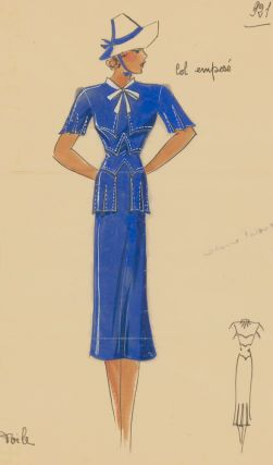 Sapphire blue dress and sun hat. Original Fashion Illustration. Ginette de Paris, Ginette Jaccard