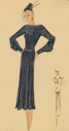 Grey draped dress with boat neck and hat. Original Fashion Illustration. Ginette de Paris,...