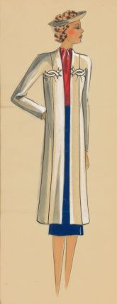 Red, white and blue outfit and visor. Original Fashion Illustration. Ginette de Paris, Ginette...