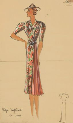 Floral wrap dress. Original Fashion Illustration. Ginette de Paris, Ginette Jaccard