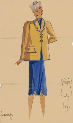 Royal blue dress and yellow jacket with gold buttons and blue trim detail. Original Fashion...