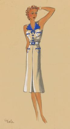 White and blue, belted dress. Original Fashion Illustration. Ginette de Paris, Ginette Jaccard