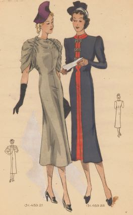 Elegant women in grey rouched-sleeve dress and high-neck navy dress with red trim. Original...