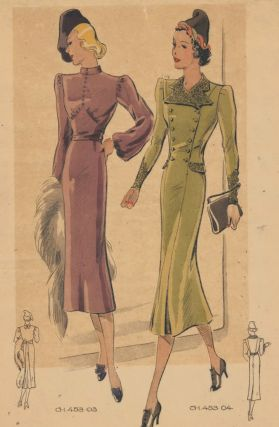 Elegant fall outfits with button details. Original Fashion Illustration. Ginette de Paris,...