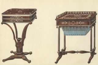Small Table and Sewing Table. Cabinet-maker's catalog of Charles X furniture. French School