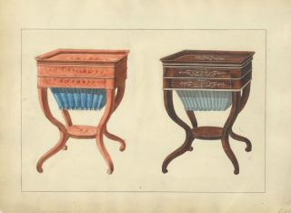 Two Sewing Tables. Cabinet-maker's catalog of Charles X furniture.