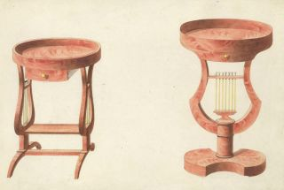 Two small round tables. Cabinet-maker's catalog of Charles X furniture. French School