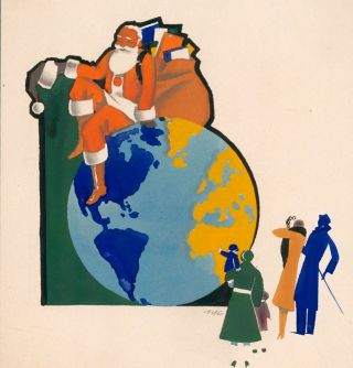 Santa on the Globe. Warner Kreuter