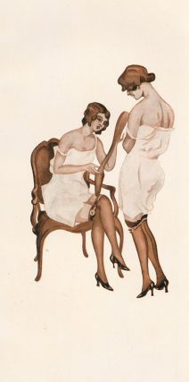 138. Two women admiring stockings. Stockings Advertisement Illustration. German School