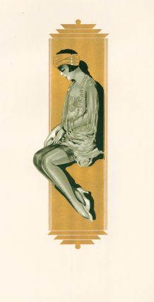 118. Woman with gold border. Stockings Advertisement Illustration. German School