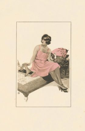 60. Woman in pink with dog. Stockings Advertisement Illustration. German School