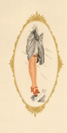 112. Red shoes and stockings in a gold frame. Stockings Advertisement Illustration. German School
