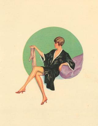 104. Woman in robe. Stockings Advertisement Illustration. German School