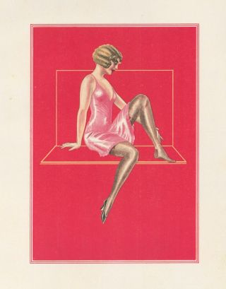 75. Black stockings and red background. Stockings Advertisement Illustration. German School.