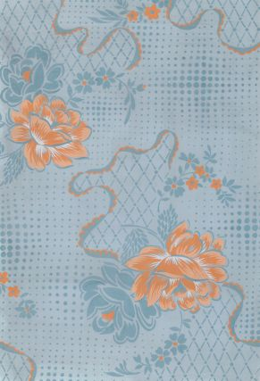 Floral Lace in blue and peach. Jacques Laplace.
