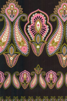 Moss green paisley pattern with rosy pink accents. Jacques Laplace