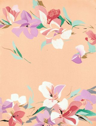 Island Florals in Peach. Jacques Laplace