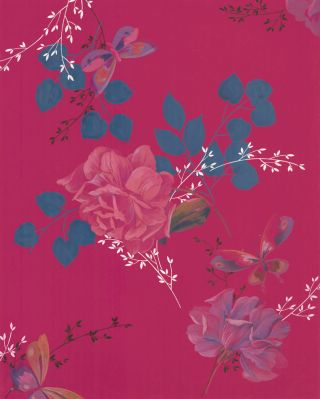 Butterflies and roses in magenta. Jacques Laplace.