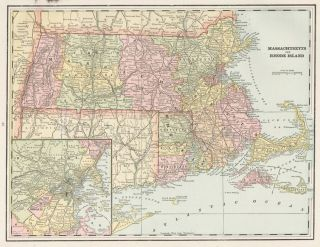 Massachusetts and Rhode Island. Cram's Unrivaled Atlas of the World. George Franklin Cram