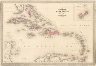 Johnson's West Indies, (inset) The Bermuda Islands. Johnson's New Illustrated Family Atlas of the...